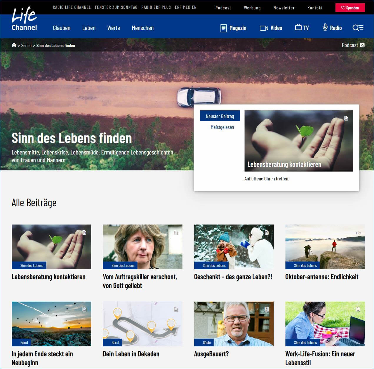 Mehr zum Thema Sinn des Lebens auf Lifechannel.ch erfahren